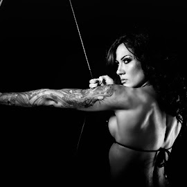 Archery and Tattoos by Monte Arnold - Sports & Fitness Fitness ( black and white, fitness, tattoos, longbow, archery, beautiful, physique, bikini )