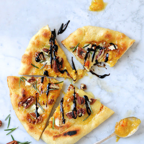 Sweet Citrus Dessert Pizza with Brie, Toasted Pecans & Balsamic
