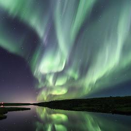 Sometimes it pays off to get wet :) by Kjartan Guðmundur Júlíusson - Landscapes Starscapes ( zorzapolarna, reflection, iceland, sky, northernlights, stars, lake, arctic, auroraborealis, nordlys )