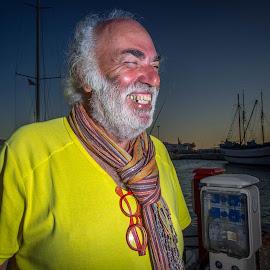 Big laugh by Leidolv Magelssen - People Portraits of Men ( yellow portrait street portrait )
