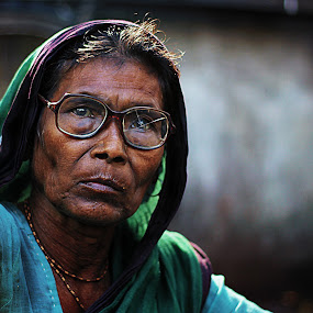 broken window by Arpit Saha - People Portraits of Women ( old lady, bright eyes, senior citizen, portrait, portraits of women/female, closeup )