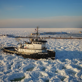 Sunset Tug by Pat Eisenberger - Transportation Boats ( lake michigan, tugboat, channel, ice, lake, boat )