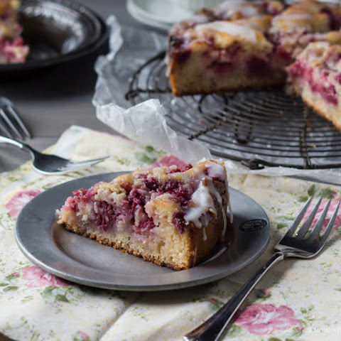 Raspberry Lemon Sweet Roll Cake with Buttermilk Glaze