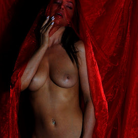 Scarlet Emergence by DJ Cockburn - Nudes & Boudoir Artistic Nude ( red, off camera flash, standing, woman, white, art nude, home shoot, caucasian, topless, sheer, model, three quarter )