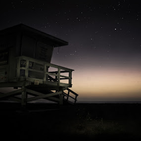 Off Duty by Johnny Hirth - Landscapes Beaches ( lifeguard, water, nature, dramatic, moody, night, ocean, long exposure, seascape, beach, landscape )