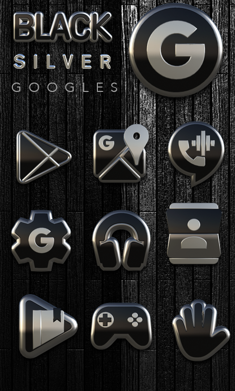 Icon Pack Black Silver 3D Screenshot 3