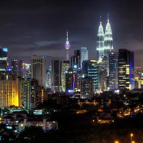 Night KL Skyline by Zack Zaidi - City,  Street & Park  Skylines ( klcc, skyline, night, malaysia, kuala lumpur )