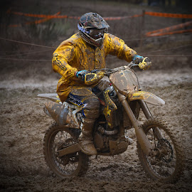 Dirty Job! by Marco Bertamé - Sports & Fitness Motorsports ( uphill, mud, bike, rainy, motocross, clumps, motorcycle, yellow, race, accelerating, competition )