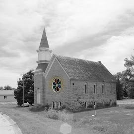 Steele City Church b&W color window by Amy Barker-Rollins - Buildings & Architecture Places of Worship
