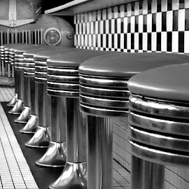 Route 66 Diner B&W by Shawn Thomas - Black & White Objects & Still Life