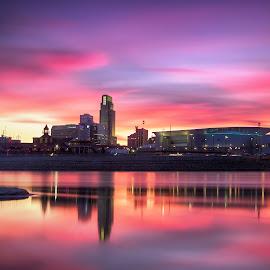 Twilight Skies by Ken Smith - City,  Street & Park  Skylines ( omaha, twilight, landscape, missouri river )