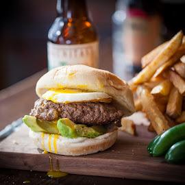 Breakfast Burger by Jim DeMicco - Food & Drink Plated Food ( burger, fries, beer, jalapenos, egg )