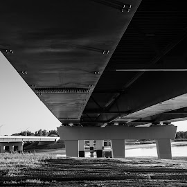 Under the Bridge by Sergei Shneider - Buildings & Architecture Bridges & Suspended Structures ( basin, b&w, black and white, nyc, new york, architecture, bridge, ny, newyork, brooklyn, structures )