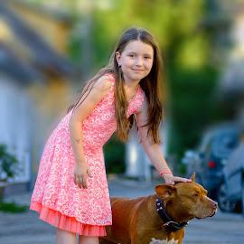 The Dogfriend by Jiri Cetkovsky - Babies & Children Child Portraits ( girl, village, street, dog, portrait )