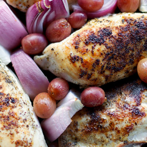 Greek Roasted Chicken with Grapes and Red Onions