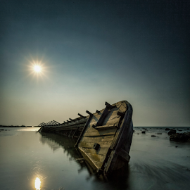 Wrecked One by Oyi Kresnamurti - Transportation Boats ( ship, sea, anyer, boat, sun, abandoned )