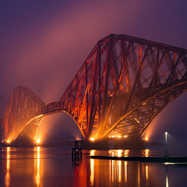 Forth Rail Bridge by Jimmy White - Buildings & Architecture Bridges & Suspended Structures ( forth, scotland, queensferry, night, bridge, misty )