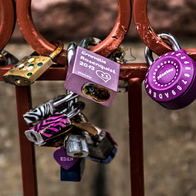 by Jackie Eatinger - Artistic Objects Still Life ( red bridge, kansas city, love locks,  )