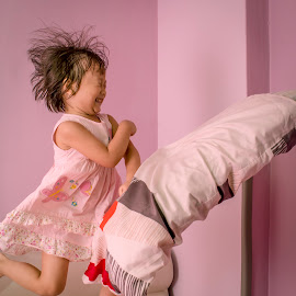 Pillow fight by Wing Yin Cheong - Babies & Children Children Candids ( excitement, pillow, 3 years old, fight, moment, joy, play, children candids, children, fun, float, bedroom, jump, playing, child, throw, happy, air,  )