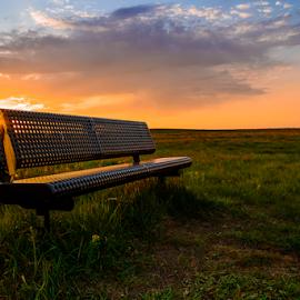 Prairie Sunset by Garces & Garces - City,  Street & Park  City Parks ( hill, park, bench, canada, sunset, saskatchewan, summer, landscape, prairie, regina )
