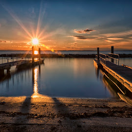 Sunset on the James by James Gramm - Buildings & Architecture Bridges & Suspended Structures ( clouds, water, reflection, sky, sunset, long exposure, docks, river )