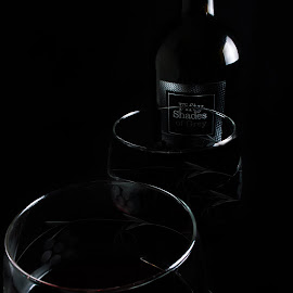 You Are Mine by Missy Norman - Food & Drink Alcohol & Drinks ( wine, fifty shades of grey, missynormanphotography, 11/26, bottle, red, stock, wine glass, glass, lips, grey, wine bottle, missy norman )