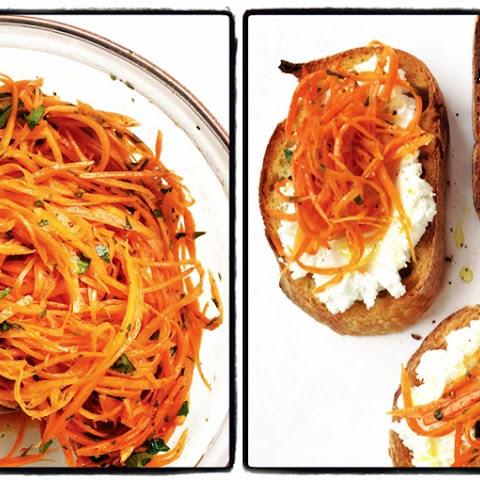 Moroccan Pickled Carrot Bruschetta with Goat Cheese