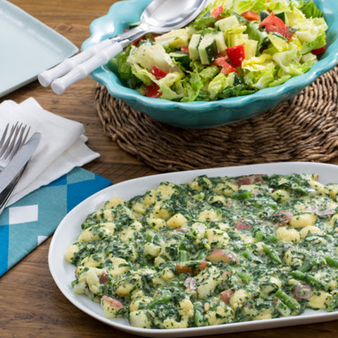 Spinach & Basil Pesto Gnocchi with New Potatoes, Green Beans & Romaine Salad