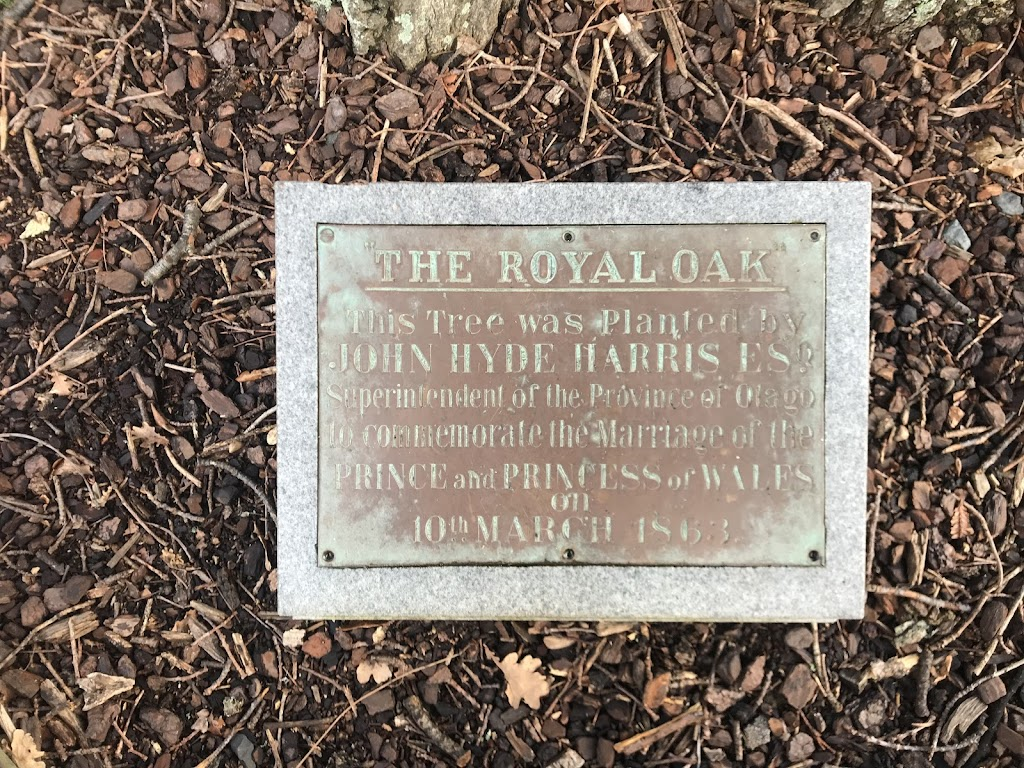 The Royal Oak. This tree was planted by John Hyde Harris Esq. superintendent of the province of Otago to commemorate the marriage of the Prince and Princess of Wales on 10th March 1863.