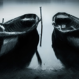 Fishing Boats by Plamen Mirchev - Artistic Objects Other Objects ( white, fishing, black, fishing boat, boats, black and white, river, water, boat,  )