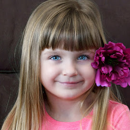 The Girl with the Flower by Luanne Bullard Everden - Babies & Children Child Portraits ( girls, children, pink, flowers, smiles )