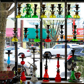 Rainbow of Hookahs by Ann Carper - Artistic Objects Glass ( hookahs, colors, glass,  )