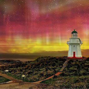 Colours of Waipapa by Jomy Jose - Landscapes Starscapes ( waipapa point, aurora australias, hannahsdreamz, light house, inver cargill, jomy jose, new zealand )