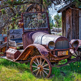 Potty Stop by Richard Duerksen - Transportation Automobiles ( dunny, washington, redmond, outhouse, auto, antique auto )