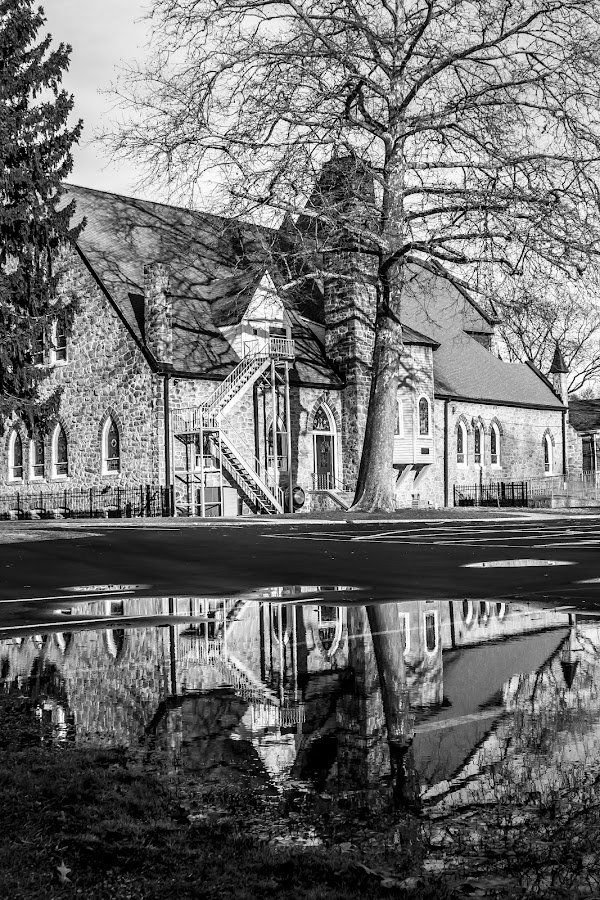 Church Reflection by Kyle Willis - City,  Street & Park  Vistas ( reflection, hightstown, cs5, church, adobe, willis, nj, photography, kyle, photoshop )