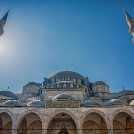 Symmetry in the Sun by Ann J. Sagel - Buildings & Architecture Places of Worship ( ann j. sagel, blue mosque, mosque, sultan ahmed mosque )