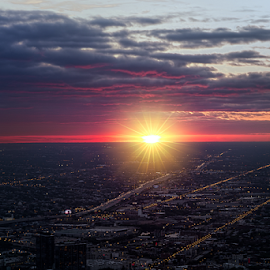 Horizon by Sushmita Sadhukhan - Landscapes Sunsets & Sunrises ( clouds, chicago skyline, light trail, sunset )