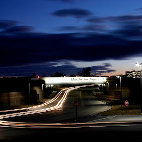 Flying to the Airport by Rob King - City,  Street & Park  Street Scenes ( dynamic, lights, streaming, airport, open lens, night,  )