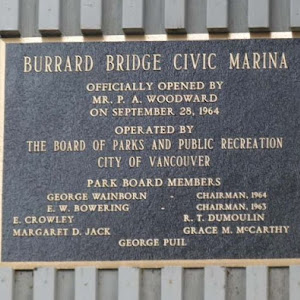 The Burrard Civic Marina is operated by the Vancouver Parks Board. It was constructed in 1963, with the help of a loan of $291,000 from the P.A. Woodward Foundation, with the stated purpose of ...