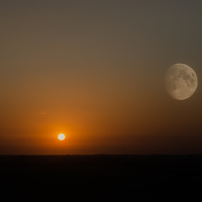 Alien Worlds by Christian Skilbeck - Landscapes Sunsets & Sunrises ( moon, planet, dawn, sunset, twilight, alien, sun )
