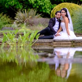 Bride&Groom by Paul Phull - People Couples ( park, wedding, wedding dress, couple, pond,  )