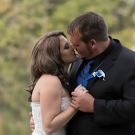 Right Before the Kiss by Janice Mcgregor - Wedding Bride & Groom ( canon, love, wedding photography, kissing, canon sl!, bride, groom, outside,  )