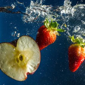 Three the hard way by Fitz C - Food & Drink Fruits & Vegetables ( water, macro, splash, drop, apple, strawberry )