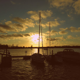 Tubbys marina by Chrissy Woodhouse - Transportation Boats ( clouds, sunset, boats, jetty, yachts )