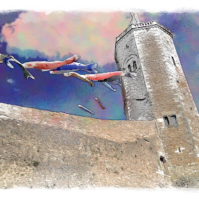 Le Château by Pam Blackstone - Digital Art Places ( emblems, tower, château, sky, flags, castle )