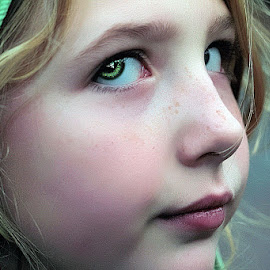 Natia by Sandy Considine - Babies & Children Child Portraits ( blonde, green hood, green eyes )