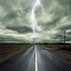 Alone.... by Bruno Canon Eos - Digital Art Places ( nature, digital art, dramatic, fine art, larzac, france, road, landscape, drama, storm, light )