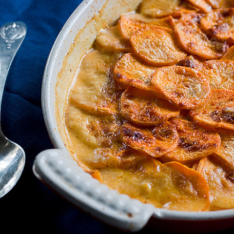 Smoky Spicy Sweet Potato Gratin