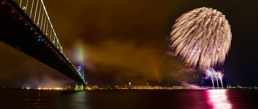 Happy new year by Girish Pandit - Public Holidays New Year's Eve ( new year, fireworks, philadelphia, newyear, benfranklinbridge, benfranklin )