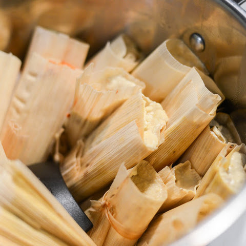 Tamales With Red Chili and Chicken Filling